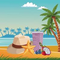 Summer, beach and vacation composition