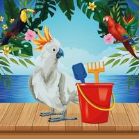 Summer, beach and vacation composition vector