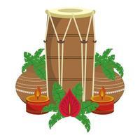 Tambor de tabla indio y macetas con velas