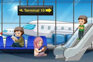 Muslim passenger at the airport vector