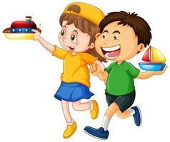 niños felices jugando juguetes vector