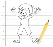 Hand writing of cute girl with gleeful posing outline vector