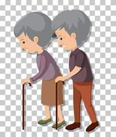 Old couple in standing pose isolated on transparent background