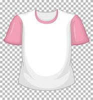 Blank white t-shirt with pink short sleeves on transparent