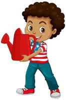 niño americano con regadera roja
