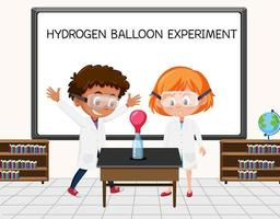Young scientist doing hydrogen balloon experiment in front of a board in laboratory