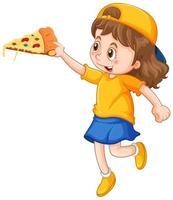 Happy girl holding a slice of pizza vector