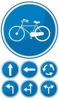 Señal de tráfico azul sobre fondo blanco.