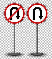 U-turn and No U-turn sign with stand isolated on transparent background