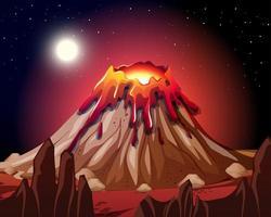 erupción del volcán en la escena de la naturaleza en la noche