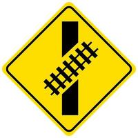 Rail crossing traffic sign on white background