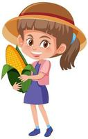 Children cartoon character holding fruit or vegetable isolated on white background