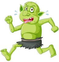 Green goblin or troll running pose with funny face in cartoon character isolated vector