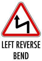 Signo de curva inversa izquierda aislado sobre fondo blanco.