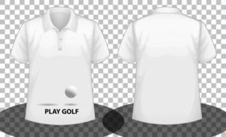 playera tipo polo blanca de manga corta con logo de play golf en la parte delantera y trasera vector
