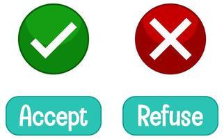 palabras opuestas con aceptar y rechazar vector