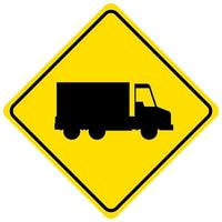 Signo de camión amarillo aislado sobre fondo blanco.