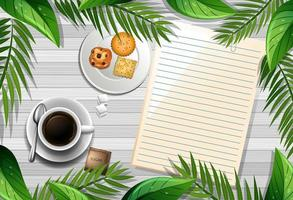 Top view of wooden table with blank paper and a cup of coffee and leaves element