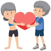 Old couple holding heart vector
