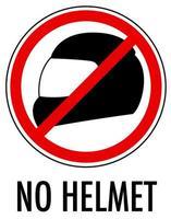 Ningún signo de casco aislado sobre fondo blanco.