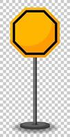 Señal de tráfico amarilla vacía sobre fondo transparente vector