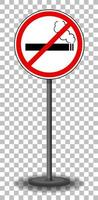 No smoking sign with stand isolated on transparent background