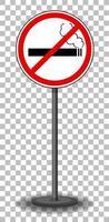 Señal de prohibido fumar con soporte aislado sobre fondo transparente