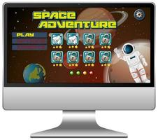 Space adventure mission game on computer screen