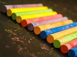 Colorful aligned chalk
