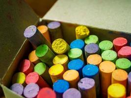 A box of colorful chalk