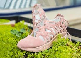 Pink woman sport shoes on the green plant