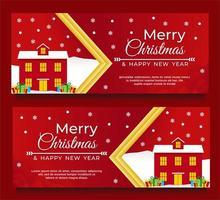 Plantilla de banner de navidad y año nuevo con casa