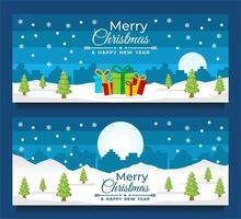 Plantillas de banner de navidad y año nuevo con escena de invierno