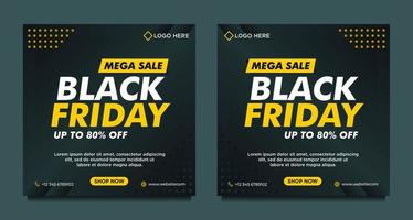 Black and yellow Black Friday sale social media templates