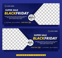 Blue gradient Black Friday sale social media banner templates