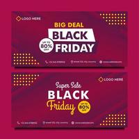 Black Friday sale banner template in purple gradient style