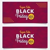 Black Friday sale banner templates with purple gradient style