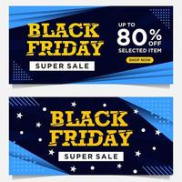 Black Friday event banners in blue, white and yellow