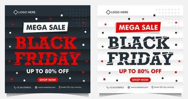 Black Friday square event banners in black, white and red