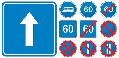 Set of blue road signs isolated on white background vector