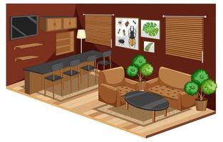 Living room interior with furniture in brown color style
