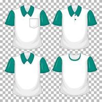 conjunto de diferentes camisas con mangas verdes.