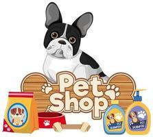 banner de texto de tienda de mascotas con lindo perro vector