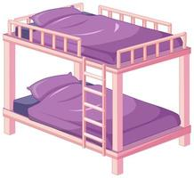 Purple pink bunk bed isolated on white background