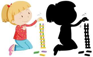 niña jugando con bloques y silueta vector