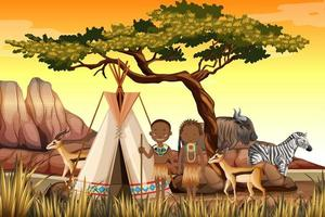 People of African tribes in traditional clothing nature scene vector