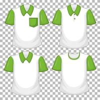 Set of different shirts with green sleeves