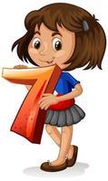 niña sosteniendo matemáticas número siete