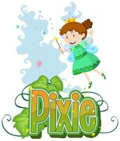 Pixie text with little fairy