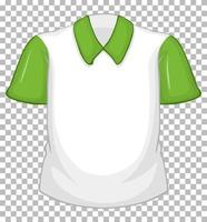 Blank white shirt with green short sleeves